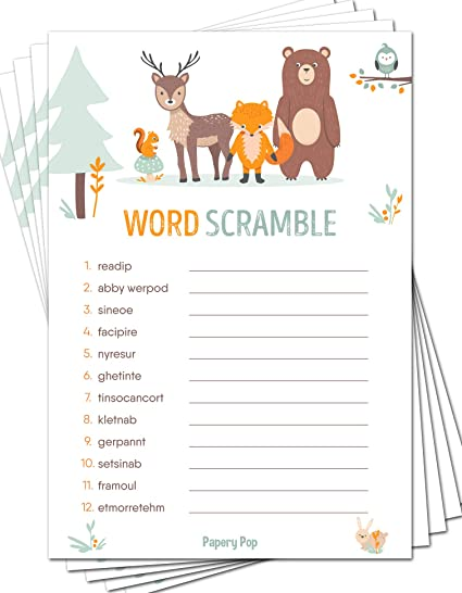 Baby Word Scramble Woodland Creatures Baby Shower Game