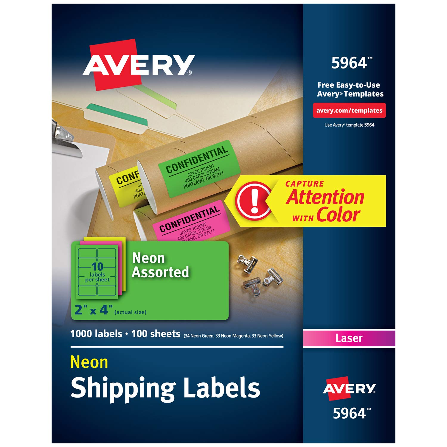 Avery High-Visibility Neon Shipping Labels for Laser Printers 2'' x 4'', Assorted Colors, Box of 1,000 (5964) by AVERY