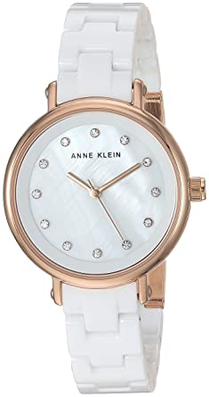 43ce80c22 Amazon.com: Anne Klein Women's AK/3312WTRG Swarovski Crystal Accented Rose  Gold-Tone and White Ceramic Bracelet Watch: Watches