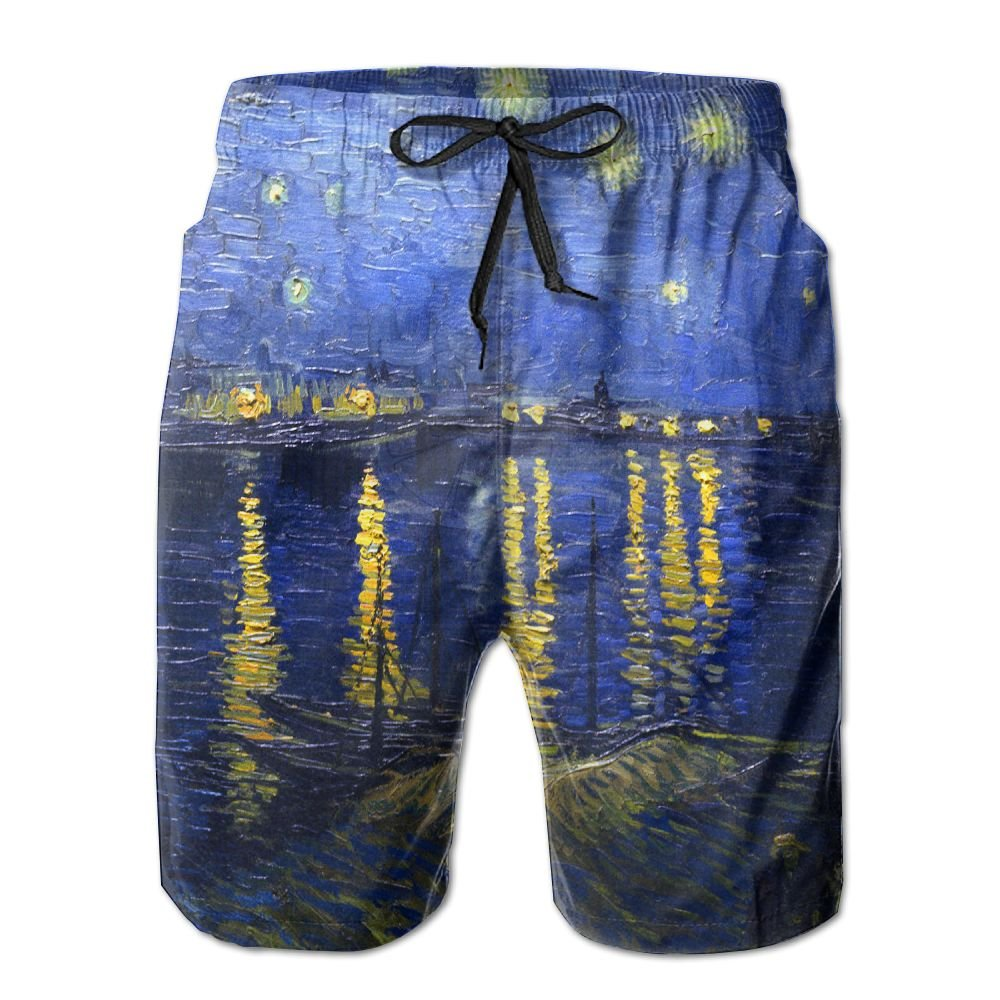1474d7ff9f3 White White White Quick Dry Men's Beach Board Shorts Fantasy Starry Night Surfing  Swim Trunks Beachwear With Pockets f3e15f