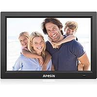 APESIN Cadre Photo numérique 12,1 Pouces Large 1280 x 800 Haute résolution Full HD LCD écran Couleur, Musique/vidéo Lecteur/Calendrier/Alarme avec télécommande (Noir)