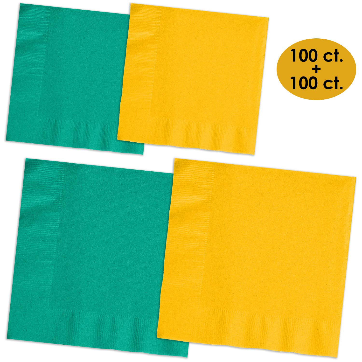 200 Napkins - Teal & Sunshine Yellow - 100 Beverage Napkins + 100 Luncheon Napkins, 2-Ply, 50 Per Color Per Type