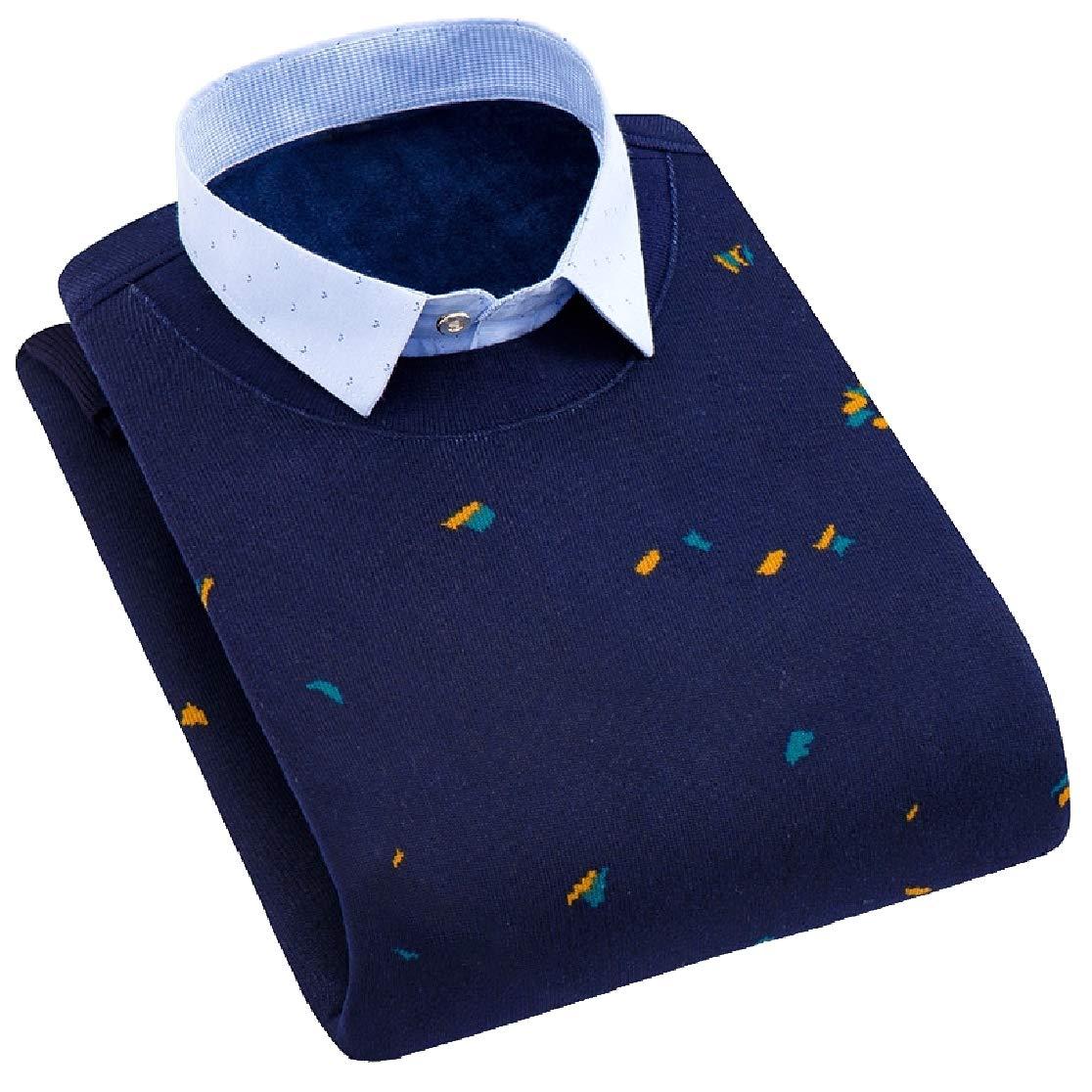 Comaba Men Thicken Fake Two Plus Velvet Plus Size Button Down Shirt