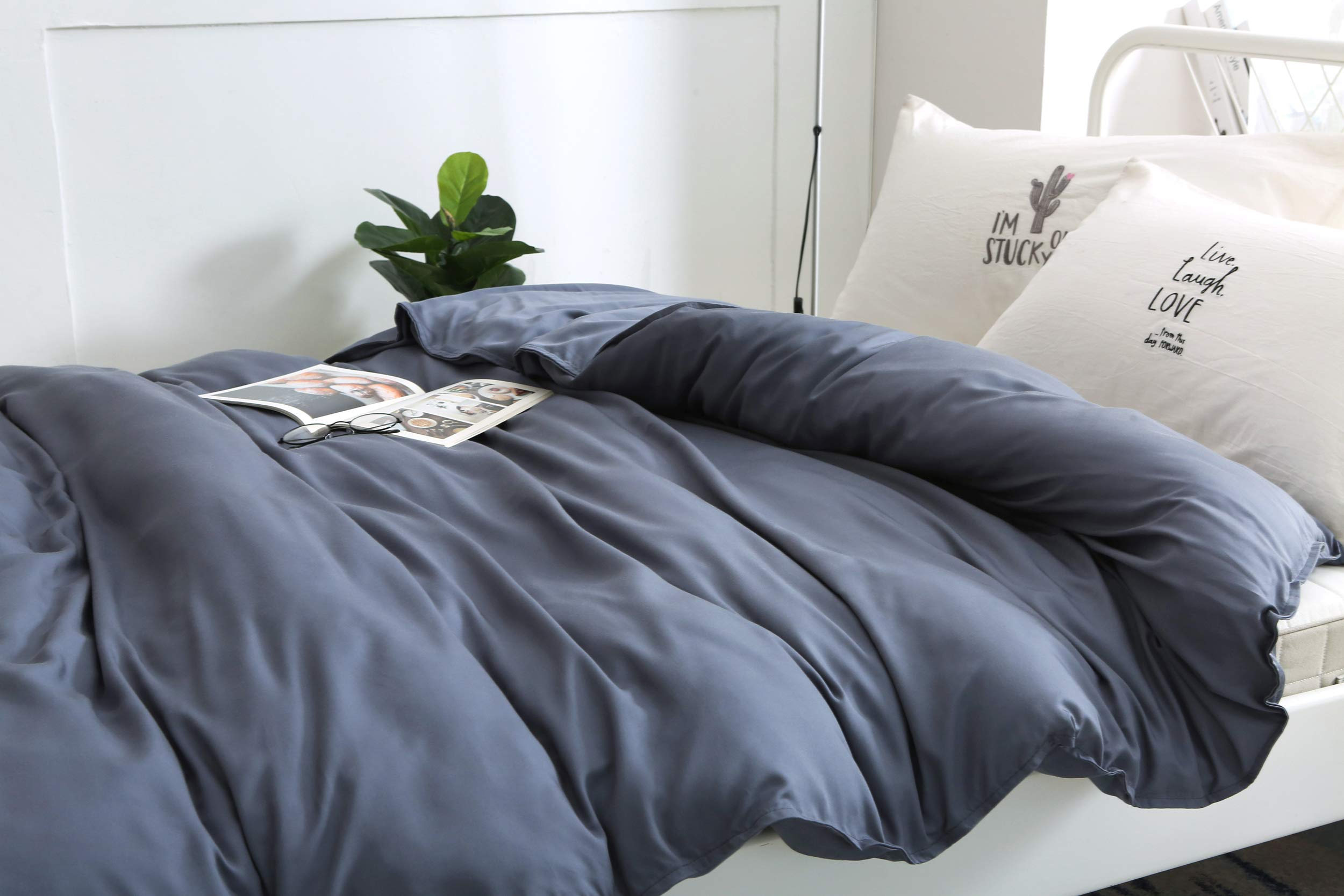 Cazlon 400 Thread Counts Bamboo Duvet Cover for Weighted Blanket 60''x80''/Slate Gray,100% Bamboo Viscose, 8 Ties/Just Duvet Cover by Cazlon