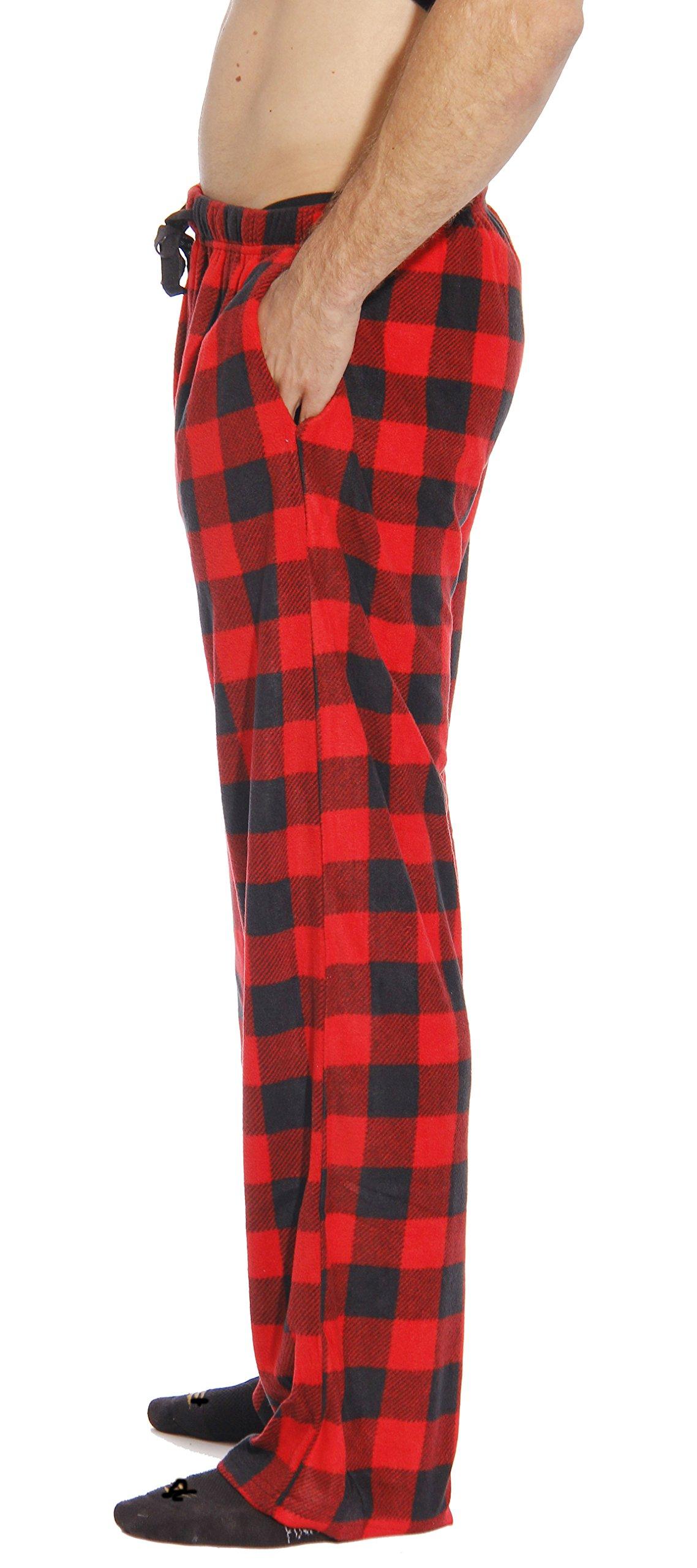 #FollowMe 45902-1A-M Polar Fleece Pajama Pants for Men/Sleepwear/PJs, Red Buffalo Plaid, Medium by #followme (Image #2)