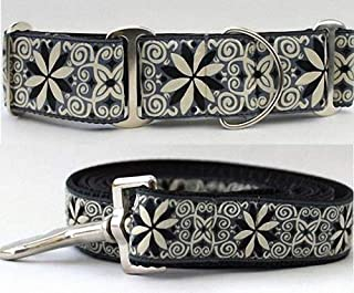 "product image for Diva-Dog 'Pinwheel Norway Winter' 2"" Extra Wide Chainless Martingale Dog Collar, Matching Leash Available - MD, LG, XL"