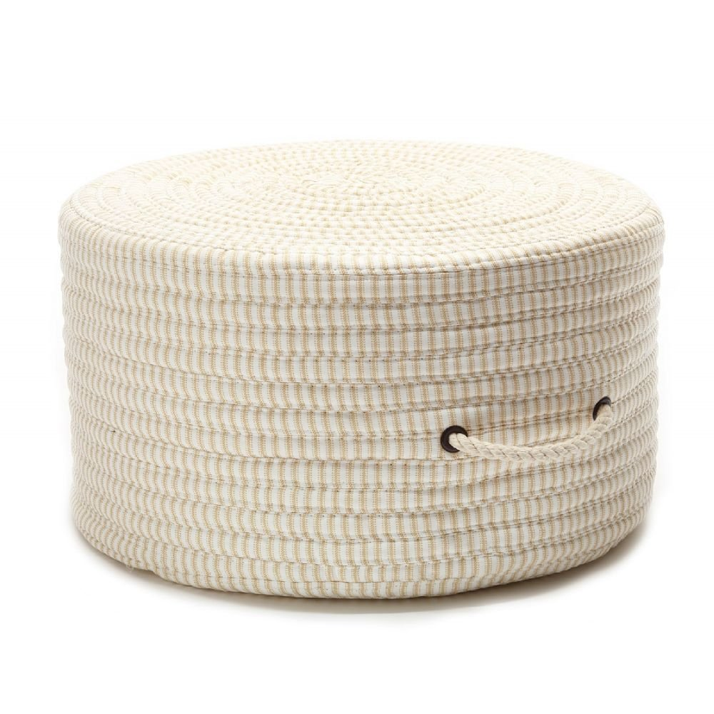 Colonial Mills Braided Round pouf/ottoman 20''x20''x11'' in Canvas Color From Ticking Fabric Stripe Pouf Collection