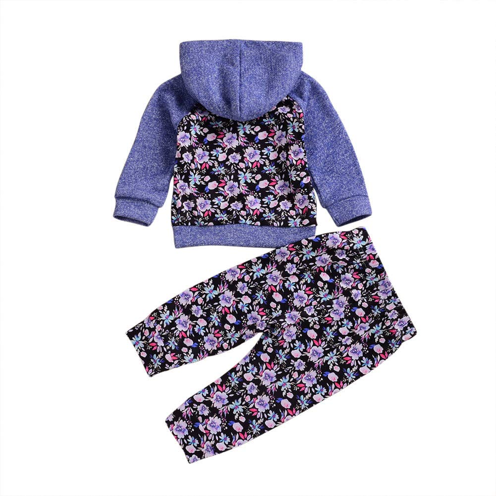 Soly Tech Infant Toddler Sweatsuits Baby Girls Floral Printed Pullover Hoodies Long Pants