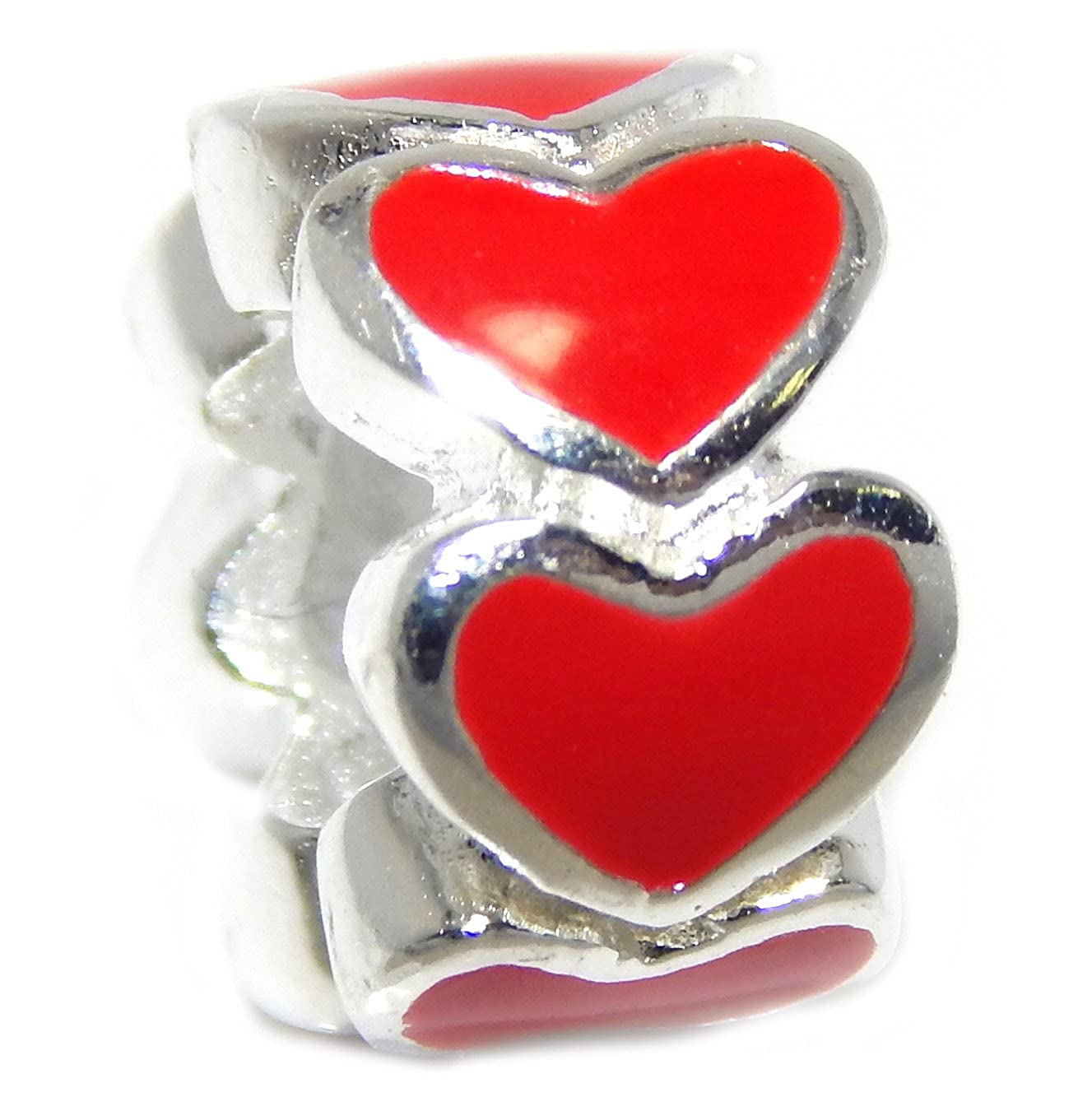 Solid 925 Sterling Silver Band of Red Hearts Charm Bead