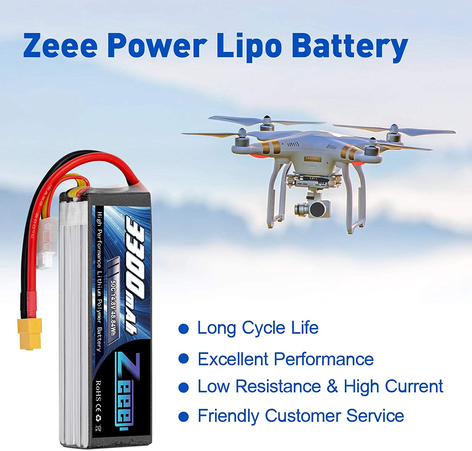 2 Packs Zeee 14.8V 4S Lipo Battery 50C 3300mAh Soft Case Battery with XT60 Plug for RC Airplane Helicopter RC Boat UAV Drone FPV RC Car Truck Boat