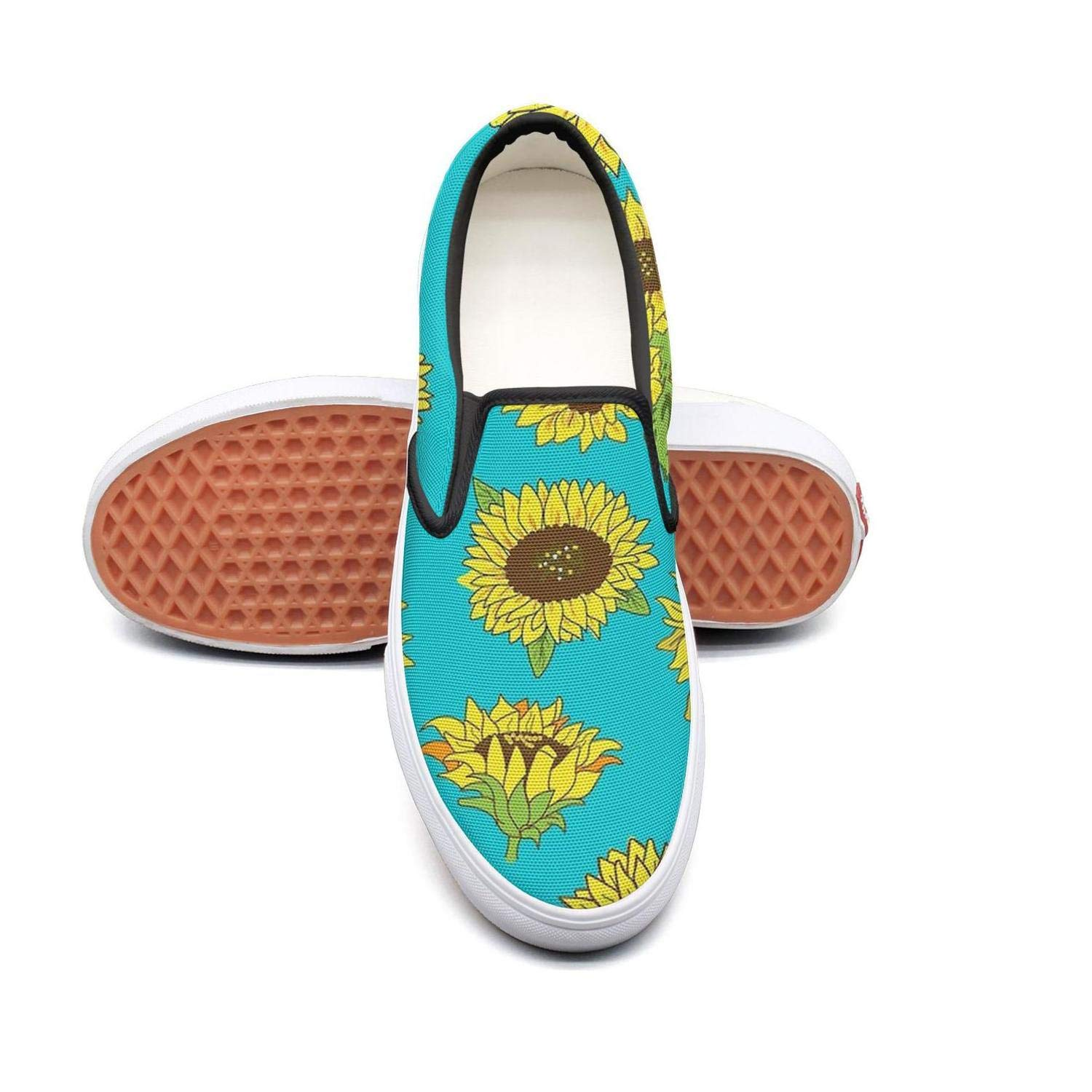 Uieort Yellow Beach Pineapple and Palm Leaves Womens Slip On Canvas Shoes Rubber Sole