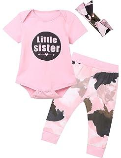 1d90309ec63ff Kewlent Baby Girls' Little Sister 3PCS Outfit Set Short Sleeve Bodysuit Camouflage  Pants and Headband