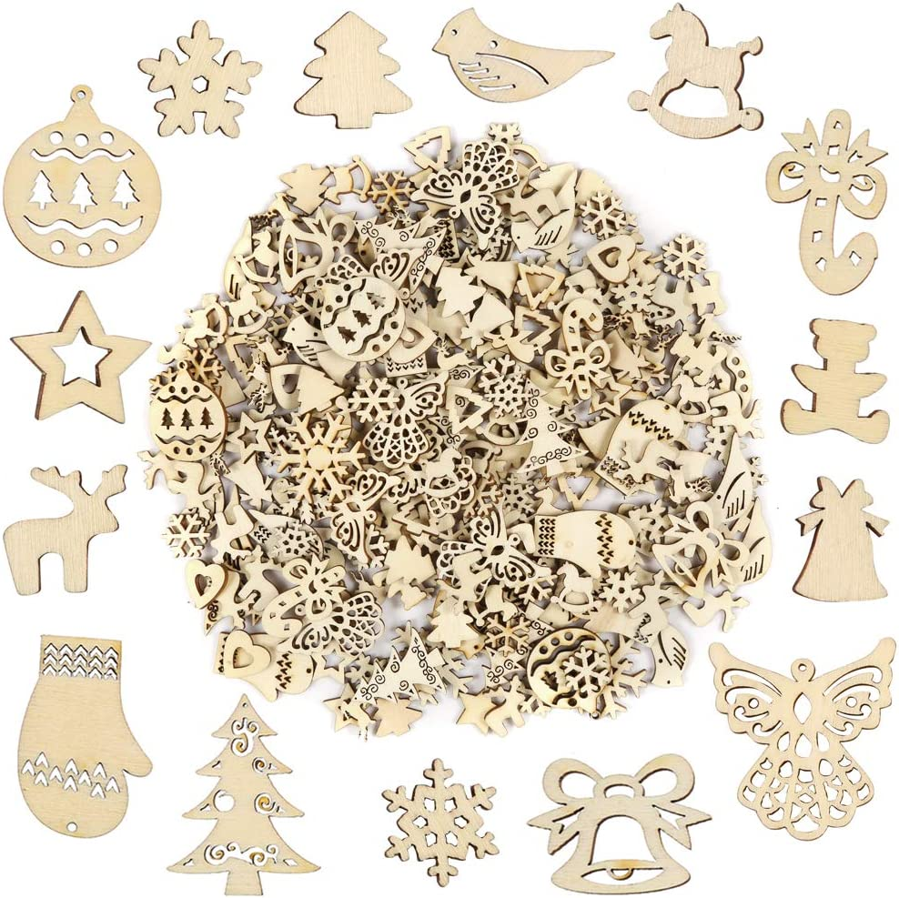 DIY Party Craft and Card Making Pllieay 250 Pieces Wooden Slices Mix Different Shapes Small Handmade Christmas Series Embellishments Ornaments for Christmas Decorations