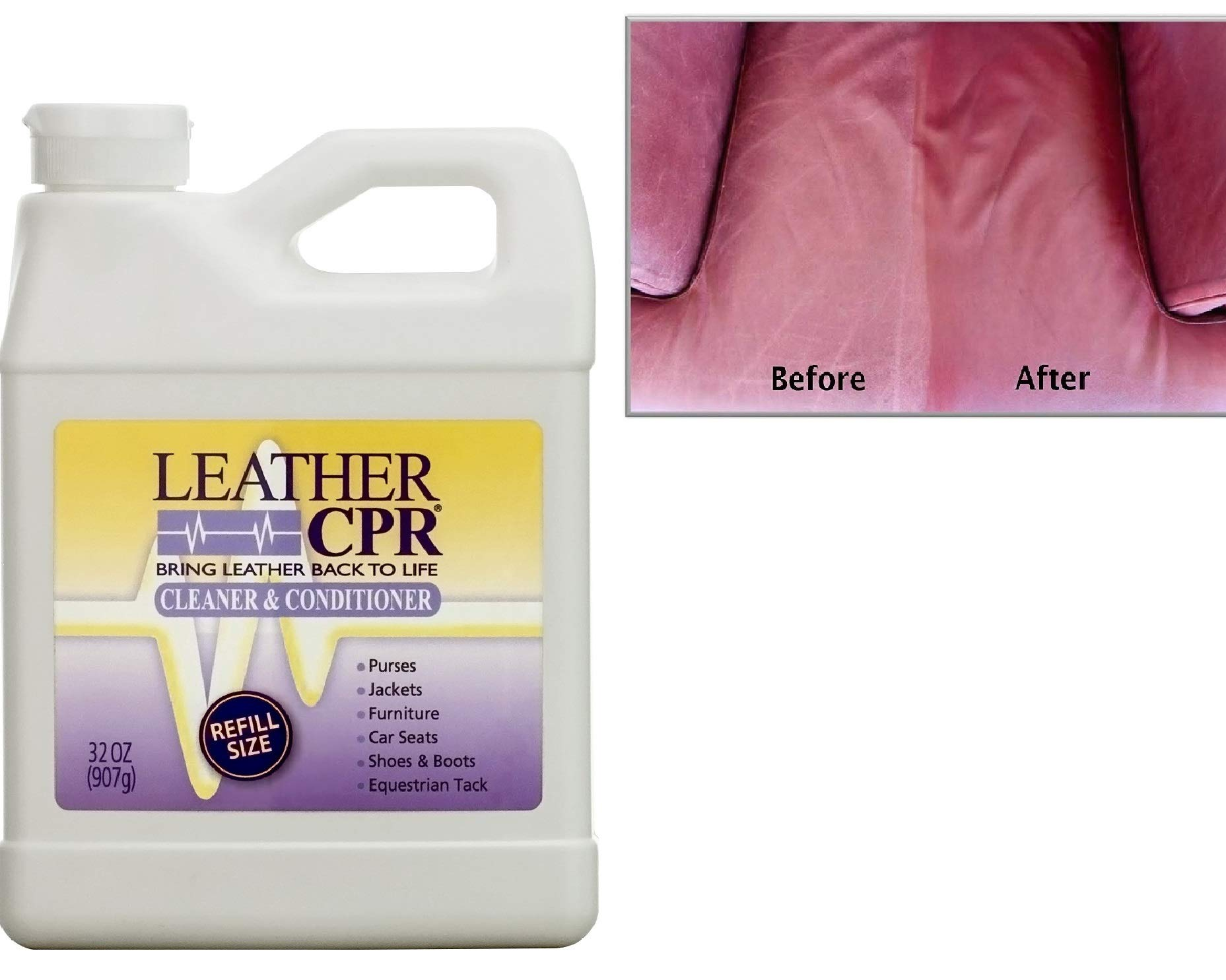 CPR Leather Cleaner & Conditioner (32 Ounce Bottle) Restores and Protects Leather Furniture, Purses, Car Seats, Jackets and More by CPR Cleaning Products