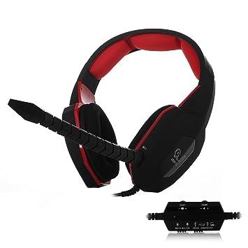 HAMSWAN HUHD Estéreo Auriculares para Juegos con Cable para Pro Jugadores con Micrófono Integrado USB 2.0