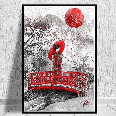 SJAKMA Impression sur Toile,Cerisier Japonais Ukiyo-E Samoura/ï en Bas des Affiches Non Tiss/é,Murales Art Abstrait 3D Photo Art Peinture De Mur Vertical /À Coucher Bureau D/écorations,20Cm*30Cm Tissu