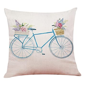 Superior Pillow Covers Decorative 18x18 , Linen Sofa Cushion Case With Zipper ,Retro  Bike Pattern Style