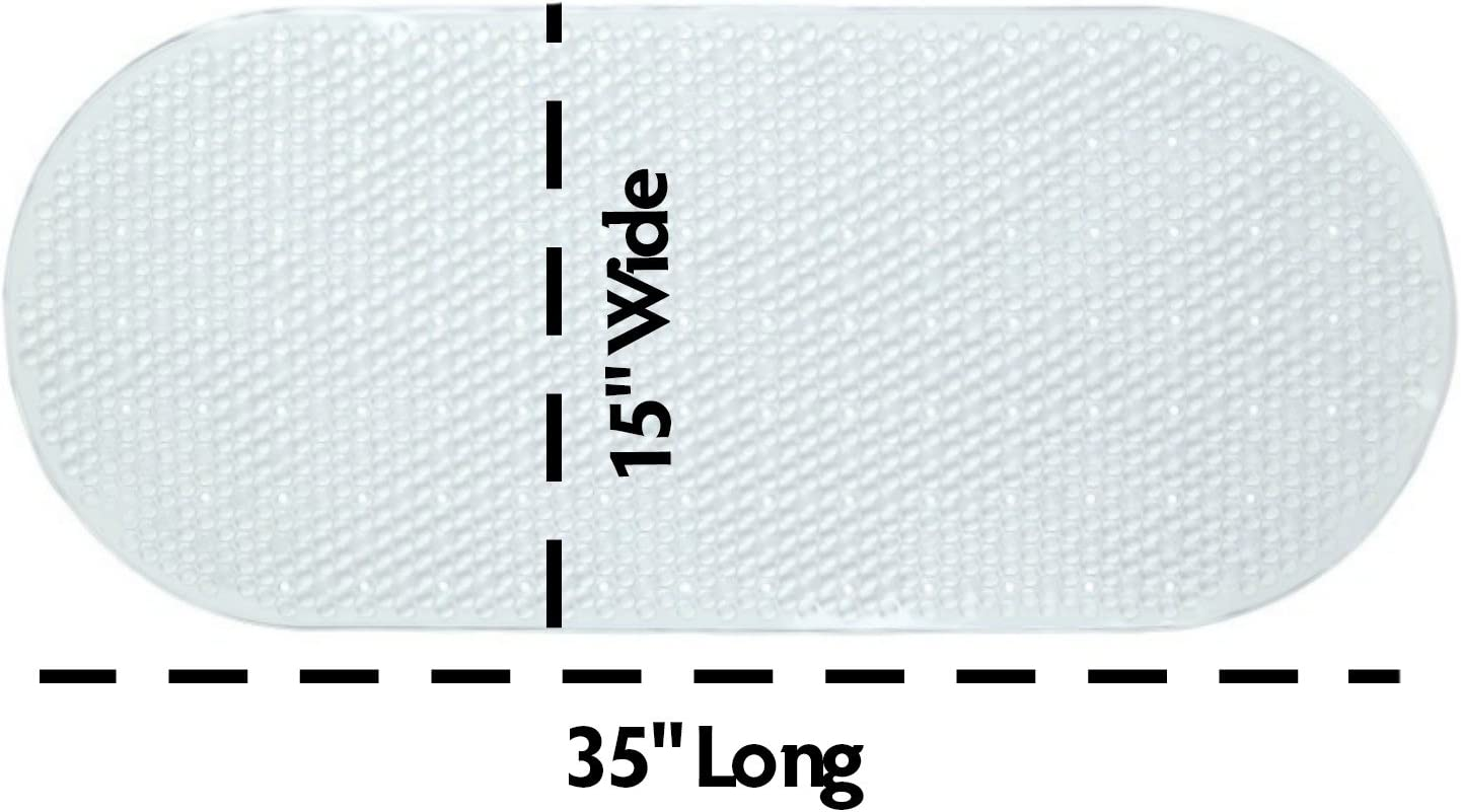SlipX Solutions/® Tapete para la Ba/ñera y la Ducha: Tapete para la Ba/ñera Resistente al Moho Que Ayuda a prevenir resbalones. Transparente, Forma Ovalada, 38 cm A x 89 cm L Extragrande