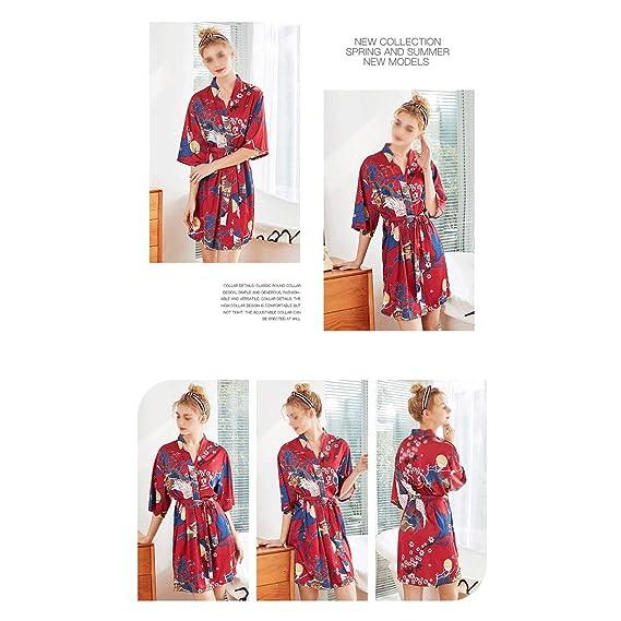 HUIFANG Pijamas Damas Mangas Color Satén Primavera Pijamas Albornoces Transpirables Sueltos Ropa para El Hogar (Color : Red, Tamaño : XXL): Amazon.es: Hogar
