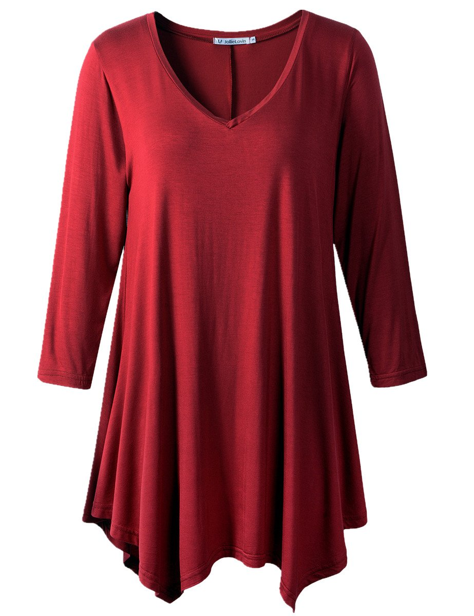 JollieLovin Womens Plus Size 3/4 Sleeve Loose-fit T Shirt for Leggings Tunic Top (3X, D Wine RED)