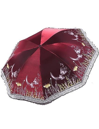 Umbrella Vinilo Protector Solar Paraguas UV Encaje Pequeño Sol Fresco Soleado Lluvia Doble Paraguas Paraguas Femenino
