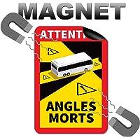 Attention Angles Morts magneetbordjes, 3 stuks, 25 x 17 cm, magneet, voor bus en caravan, waarschuwingsbord, Frankrijk…
