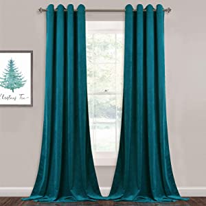 StangH Teal Curtains Velvet - Extra Long Thick Velvet Drapes Blackout Panels with Solid Grommet Design for Large Window Decor, Teal, W52 x L108 inches, 2 Panels