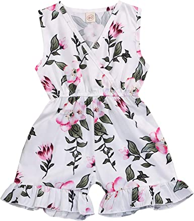 Toddler Kids Baby Girl Clothes V Neck Floral Ruffled Romper Jumpsuit Outfits