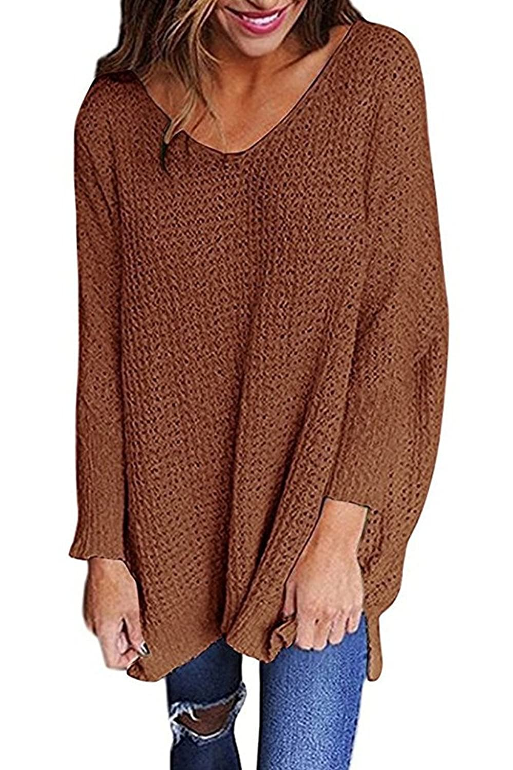 LHAYY Women Oversized Knitted Sweater Long Sleeve V-Neck Loose Top Jumper Pullovers