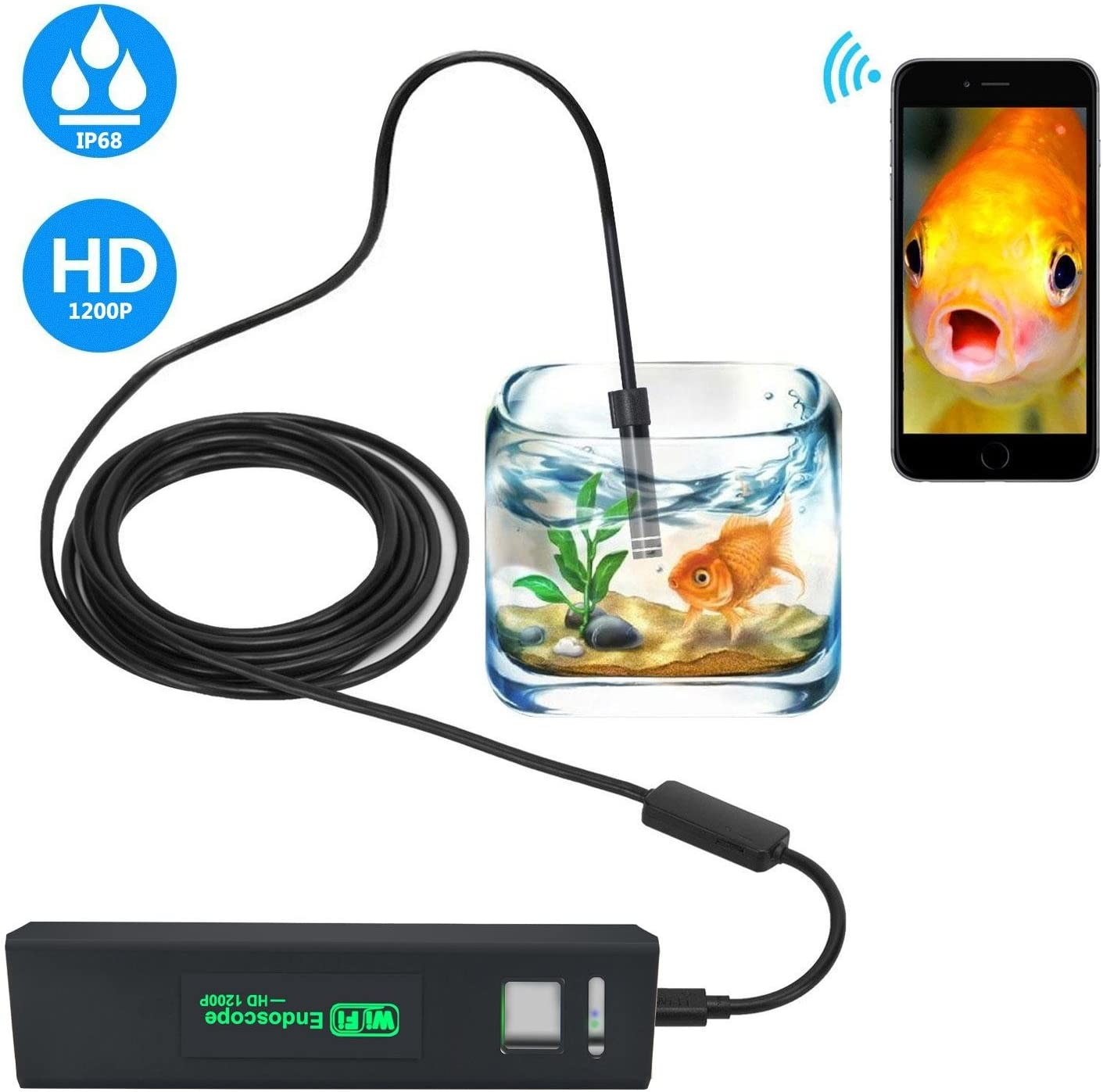 PC KOBWA WiFi Borescope Inspection Camera 2.0 Megapixels HD 8 LED Light Snake Camera for Android and IOS Smartphone Samsung Waterproof Wireless Endoscope IPhone Tablet