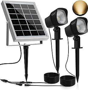 CLY Solar Spotlights LED Solar Landscape Lights 2 in 1 Solar Spot Lights Outdoor IP66 Waterproof Solar Powered Lights Wall Lights Security Lighting for Outdoor Garden Yard Downlight (Two Light)