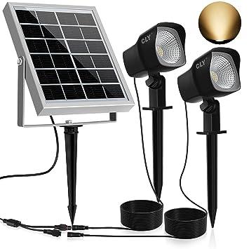 Solar Proyector LED CLY,300LM Luz del Jardín,2 * 1.5W Luz Solar de Blanco Cálido,Impermeable IP66 Foco Solar Exterior con Dos Bombilla para ...