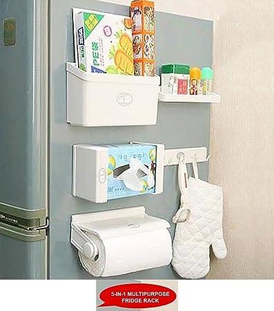 Marvelous Styleys Refrigerator Storage Rack 5 IN 1 Magnetic Tissue Paper Roll Holder  Spice Rack Towel Rack