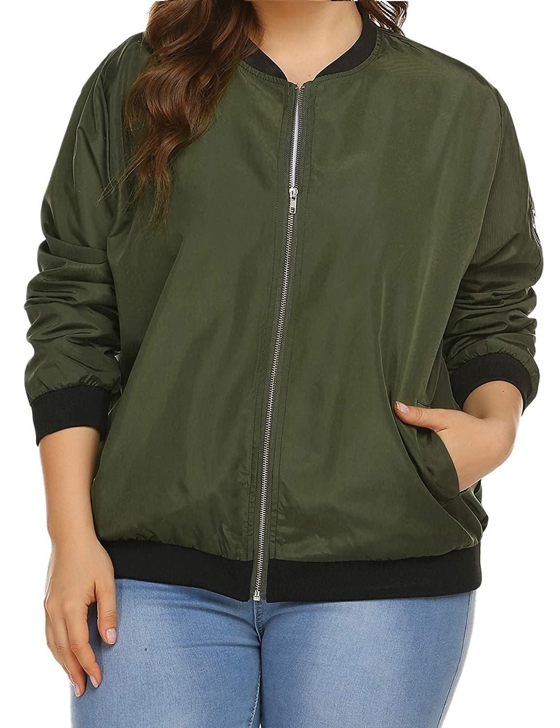 INVOLAND Womens Jacket Plus Size Bomber Jackets Lightweight with Pockets Zip Up Quilted Casual Coat Outwear