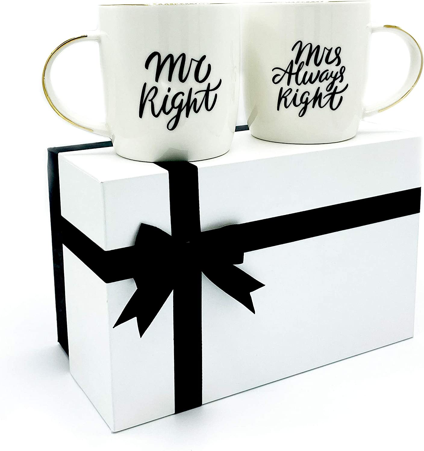 Triple Gifffted Mr Right and Mrs Always Right, Funny Coffee Mugs Gifts for Couple, Engagement Anniversary Wedding, Couples Gift, Bride Groom, Parents, Christmas Day, Newlywed, His and Hers Cups Set