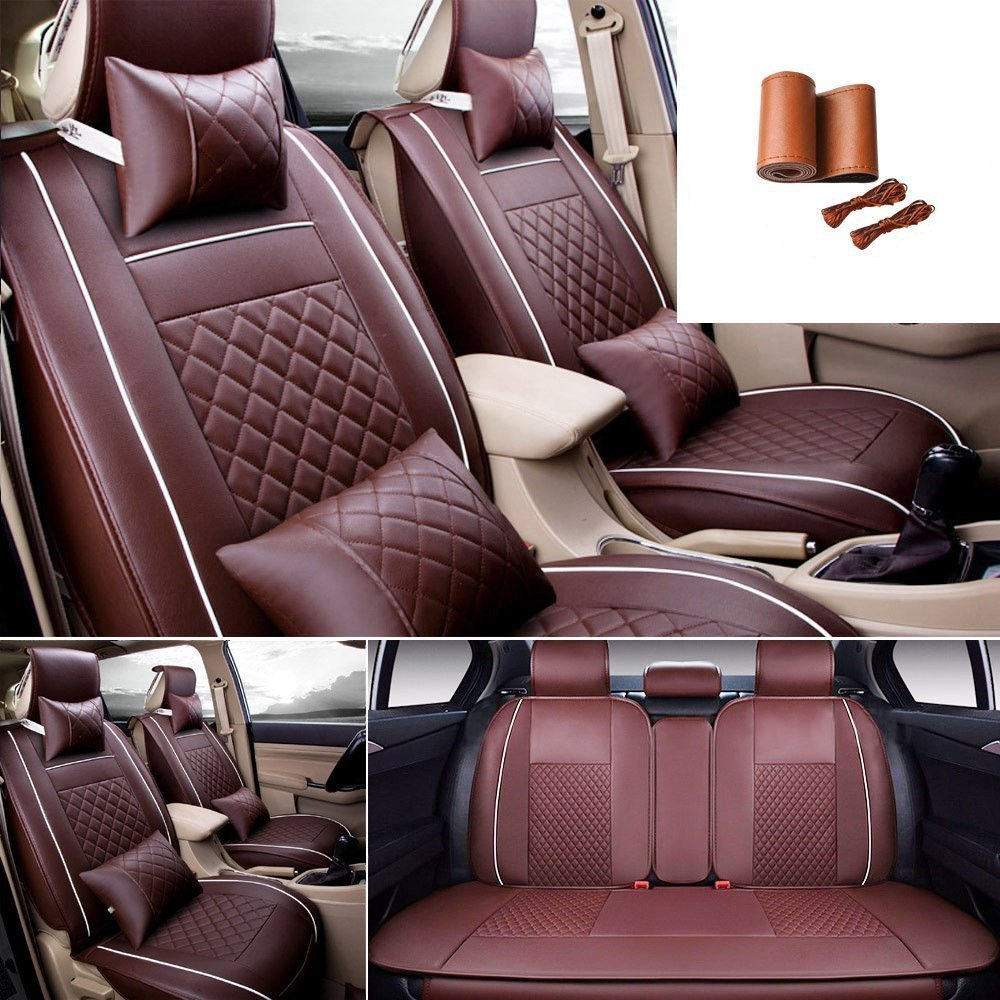 Fly5D 9Pcs Universal Front Rear Car Seat Cushion Covers PU Leather Covers for 5 Seats Cars(Coffe)