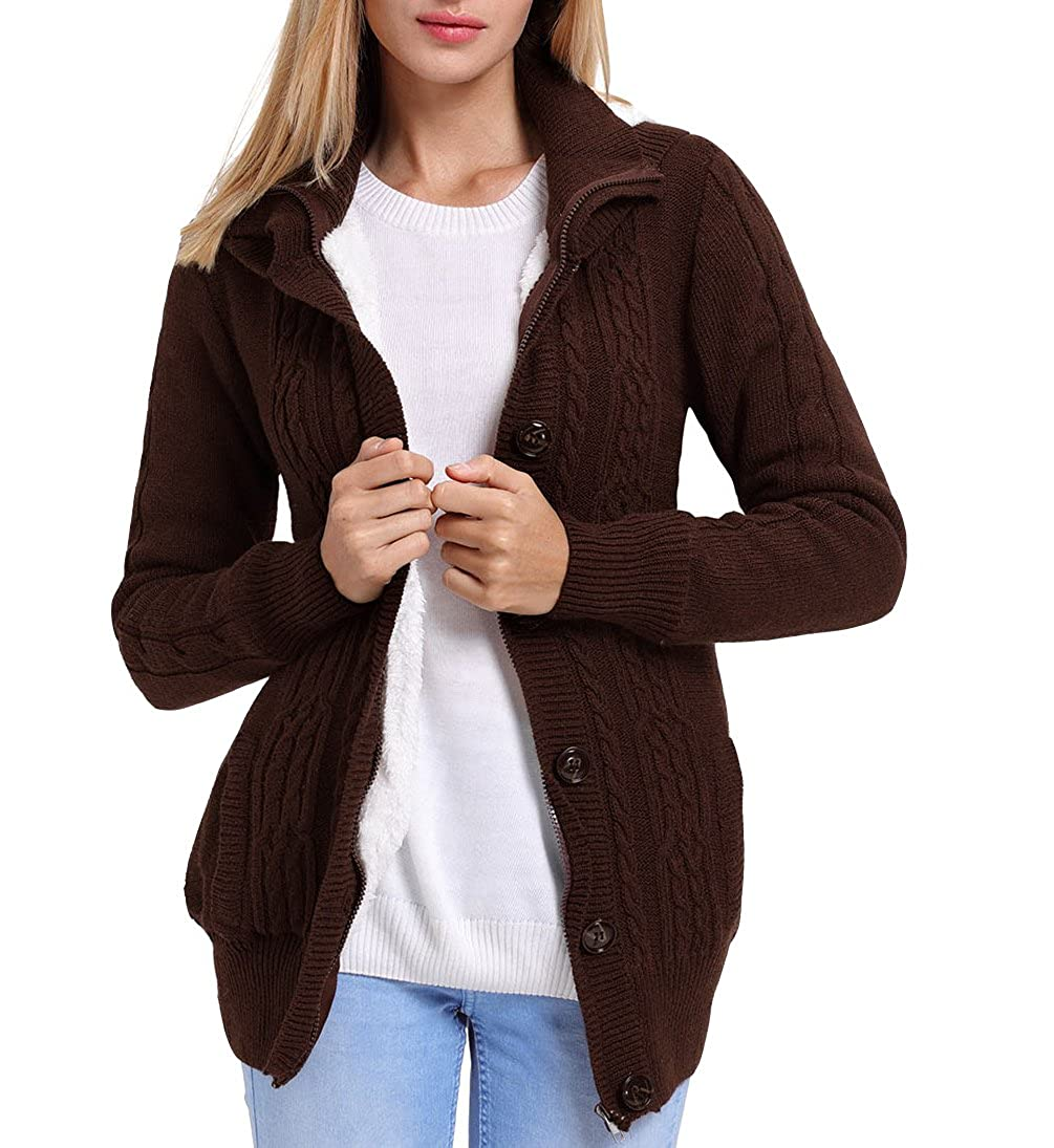 Eternatastic Women's Hooded Cable Knit Button Down Cardigan Long Sleeve Sweaters H-7652-Cardigan
