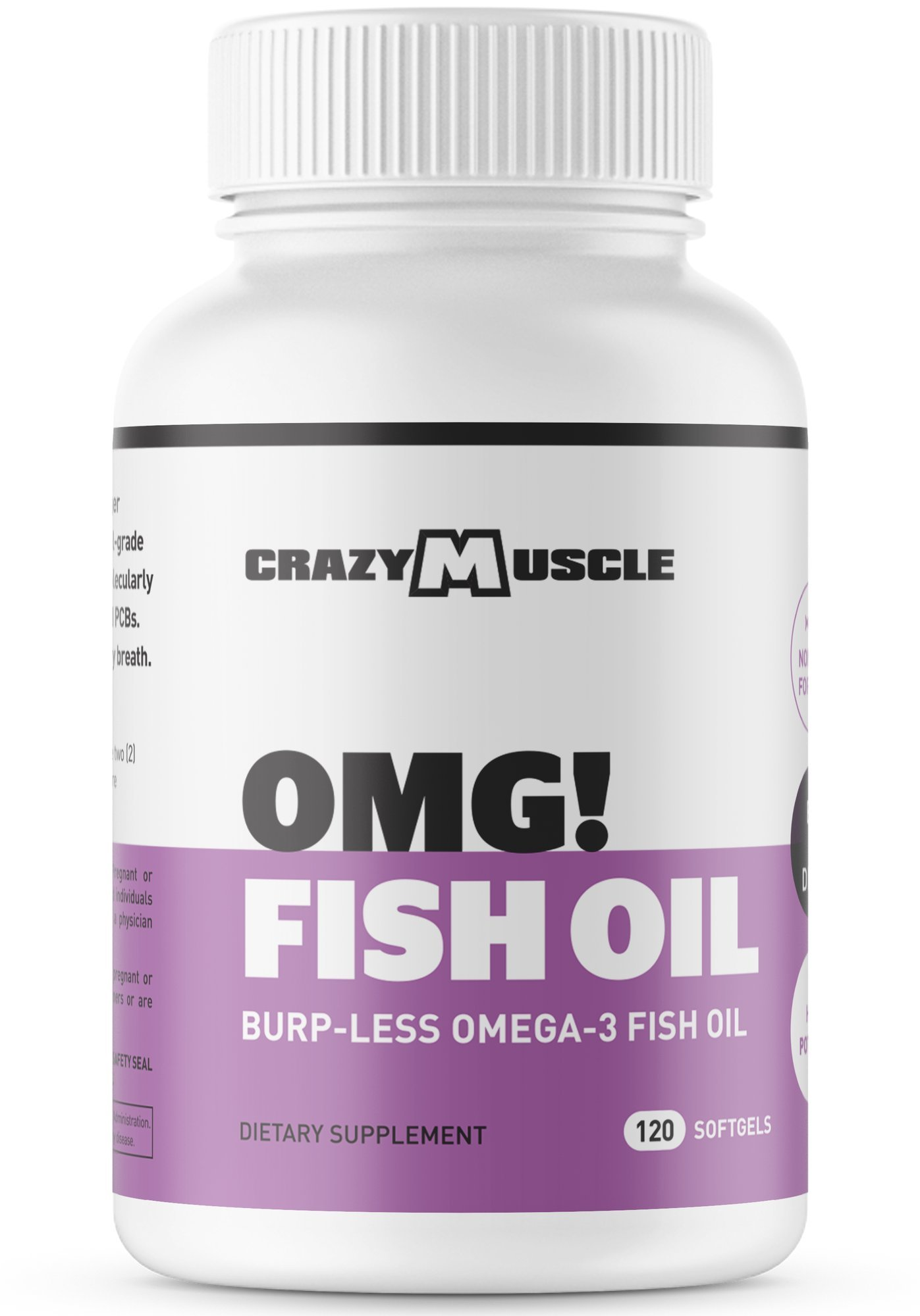 """Omega 3 Fish Oils (Non-GMO) - NO Fishy Burps - Made from 100% Anchovies (aka """"Small Fish"""") by Crazy Muscle: More EPA/DHA per Serving - 120 Softgels"""