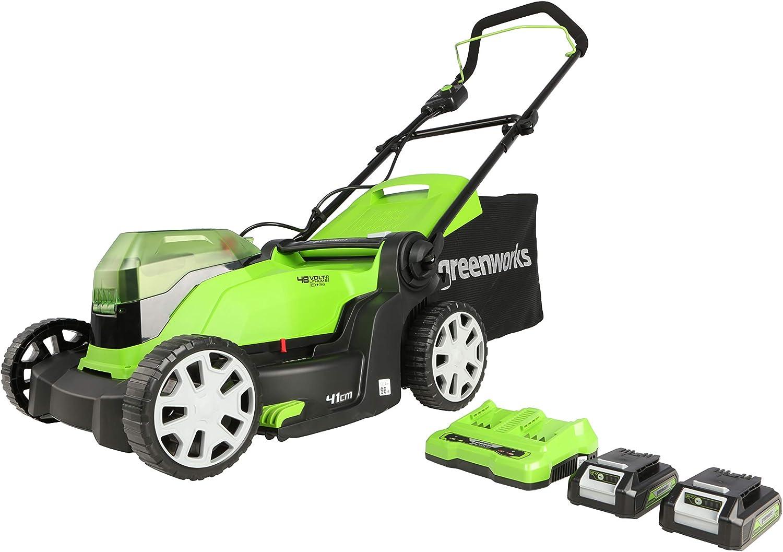 Greenworks Cortacésped con batería G24X2LM412x, Li-Ion 24VX2 41 cm ancho corte hasta 220 m² 50 L recolector de hierba 6x ajuste central altura corte incluyendo 2 x 2Ah batería y cargador