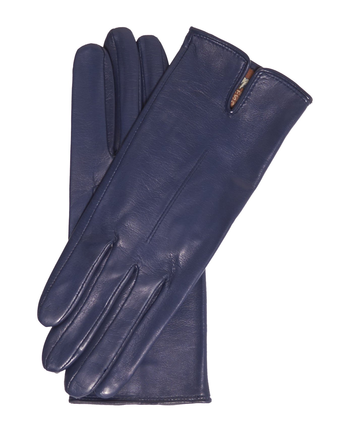 Fratelli Orsini Everyday Women's Italian Silk/Cashmere Lined Leather Gloves Size 7 1/2 Color Navy