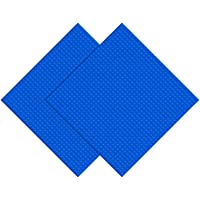 "EKIND 2 PCS Classic Building Base Block Plate 10"" x 10"" Compatible with Building Brickyard Blocks All Major Brands (Blue…"