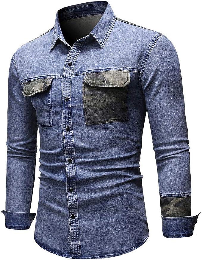 AngelSpace 男性デニムパッチワークレギュラーフィットポケットマルチカムシャツで洗浄