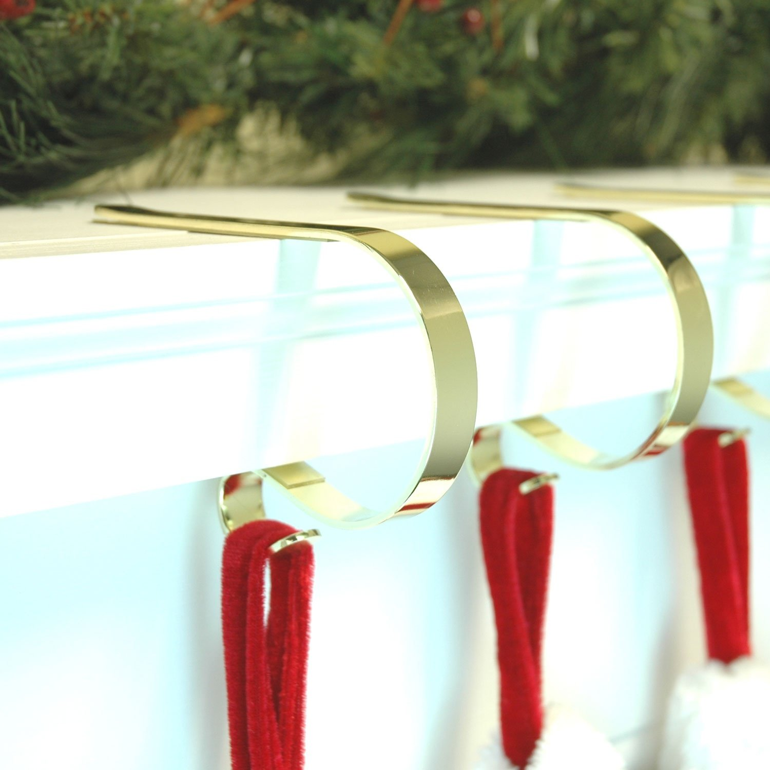 Beautiful Gold CHRISTMAS XMAS The original Mantel Mantle clips from the USA Stocking holders supports - holds the fullest stockings by D&H