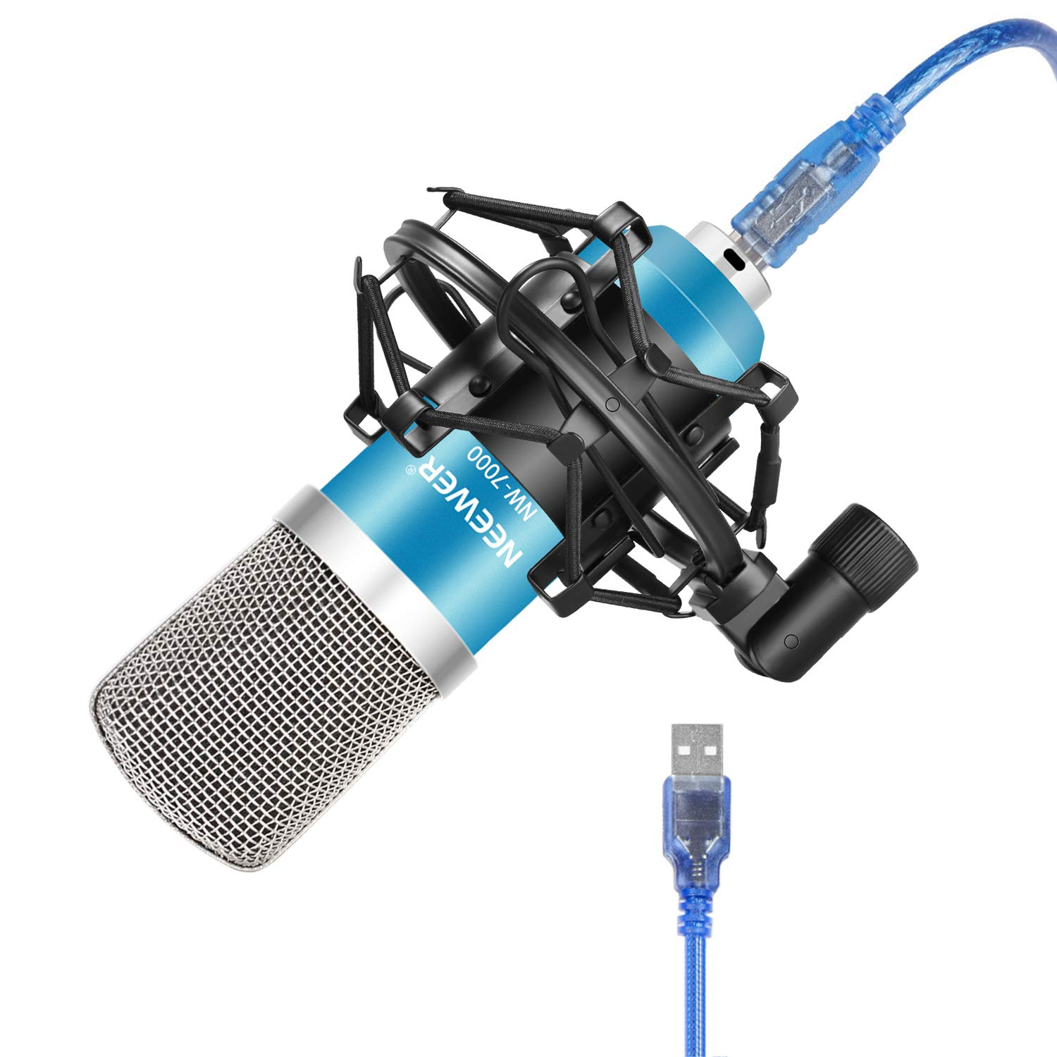 Neewer NW-7000 USB Condenser Microphone Kit for Windows and Mac with Metal Microphone Shock Mount, Ball-type Anti-wind Foam Cap, USB Audio Cable for Professional Studio Broadcasting(Blue and Silver) 40094035