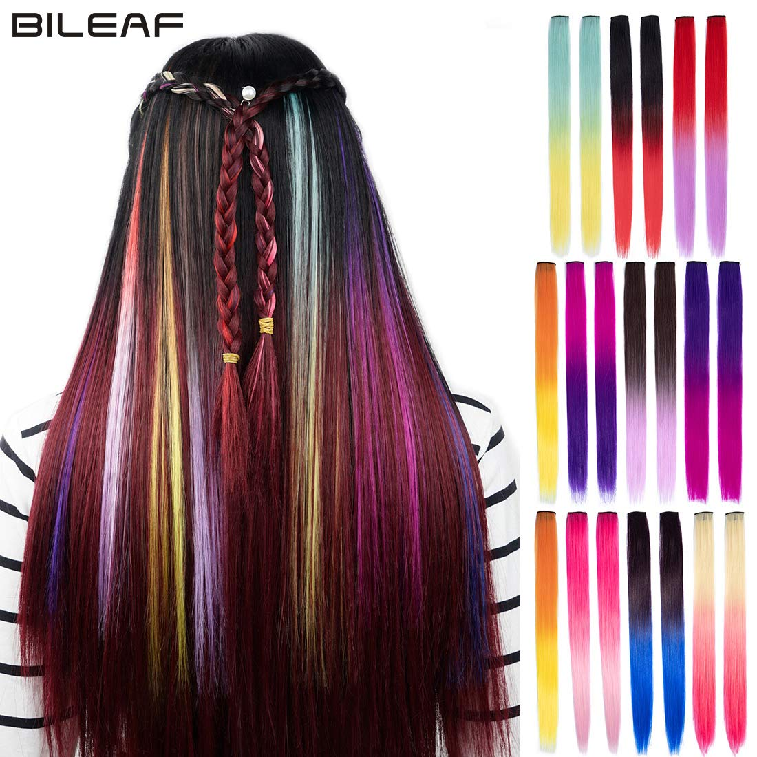 20pcs Colored Party Clip in Hair Extensions for Kids 18'' Ombre Synthetic Colorful Straight Clip on Hair Pieces(Mixed Colors) by Bileaf