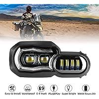 Led-koplamp voor motorfiets met Angel Eyes DRL montage, E-Mark E-keurmerk, waterdicht DC12-24 V koplamp voor F650GS…