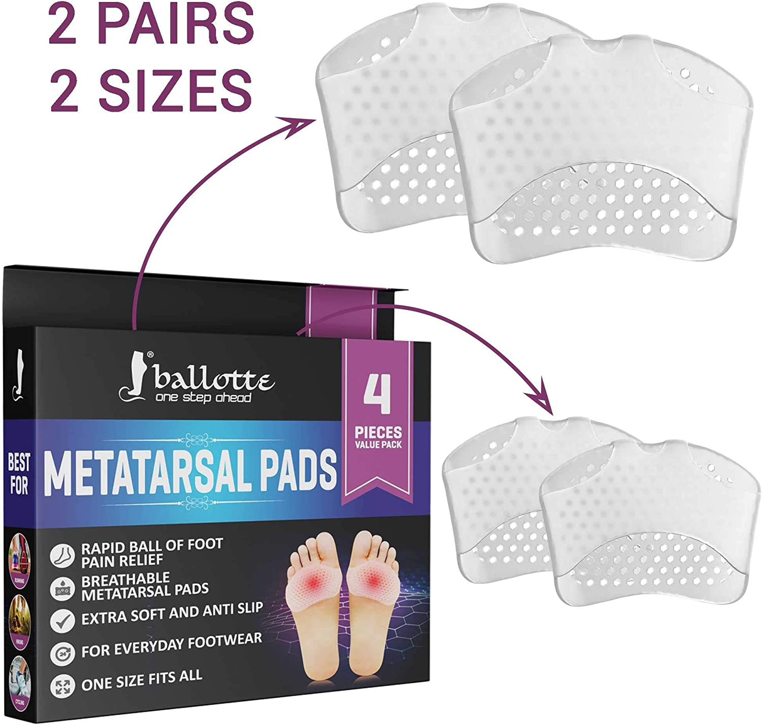 4 Pairs 2x Skyfoot/'s Metatarsal Pads and Ball of Foot Cushions for Pain Relief