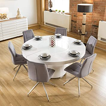 Avant Garde Large Round White Gloss Dining Table Lazy Susan ...