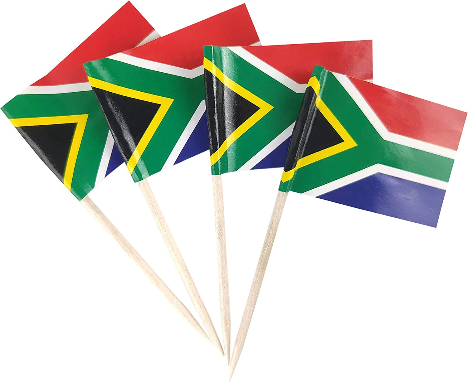 JBCD 100 Pcs South Africa Flag Toothpicks South African Flags Cupcake Toppers Decorations, Cocktail Toothpick Flag Cake Topper Picks Mini Small Flag Cupcake Pick Sticks