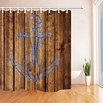 Gohebe Navigation Décor Bleu Ancre sur vintage en bois Rideaux de ...